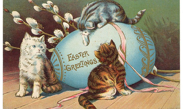 Easter Greetings Vintage Cats