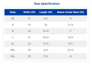 Gildan SoftStyle Size Chart
