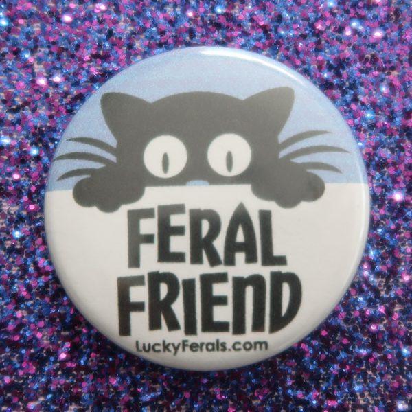 black cat feral friend button