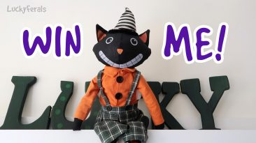 To continue our celebration of International Black Cat Awareness Month, you can win this folk art inspired Black Cat Soft Shelf Sitter!