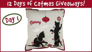 Win a Meowy Catmas Pillow! It's Day 1 Of The 12 Days Of Catmas Giveaways!
