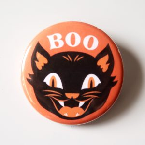 Halloween Black Cat Boo Button